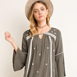Anthropologie Entro Embroidered Dress $128 Lined